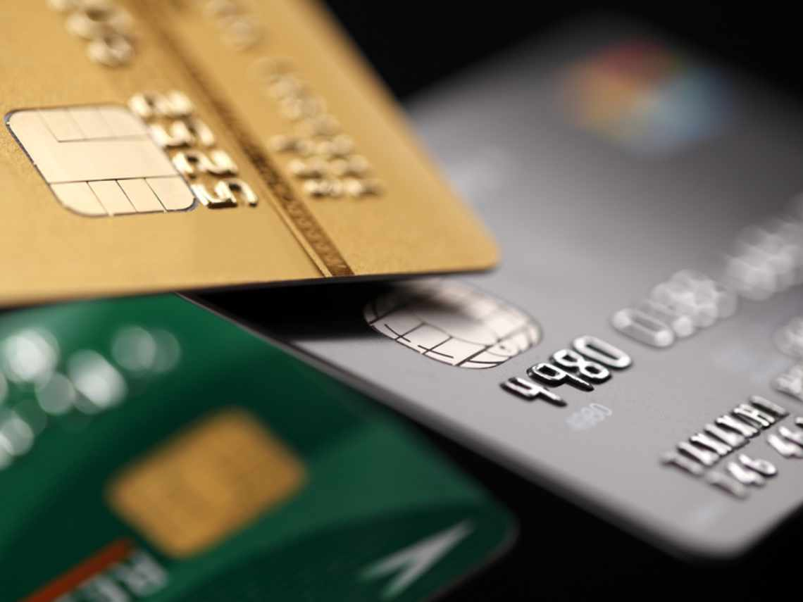 chip credit cards that are silver, gold, and green